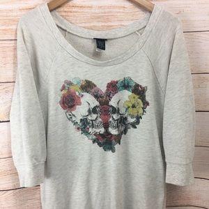 Torrid 2 Floral Skull Sweatshirt Sweater Top Gray